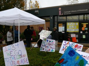 Efforts to save the Carnegie Library of Beechview happen on October 31, 2009. Groups of students helped raise money with a hot chocolate stand. The stand has brought in more than $140.00 dollars and continues to raise more money each week in an ongoing attempt. By Ann Straub, Point Park News Service.
